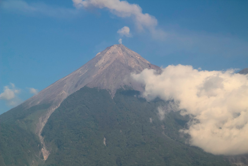 Volcán de Fuego near Antigua, Guatemala (Shot through the window of a moving bus.)